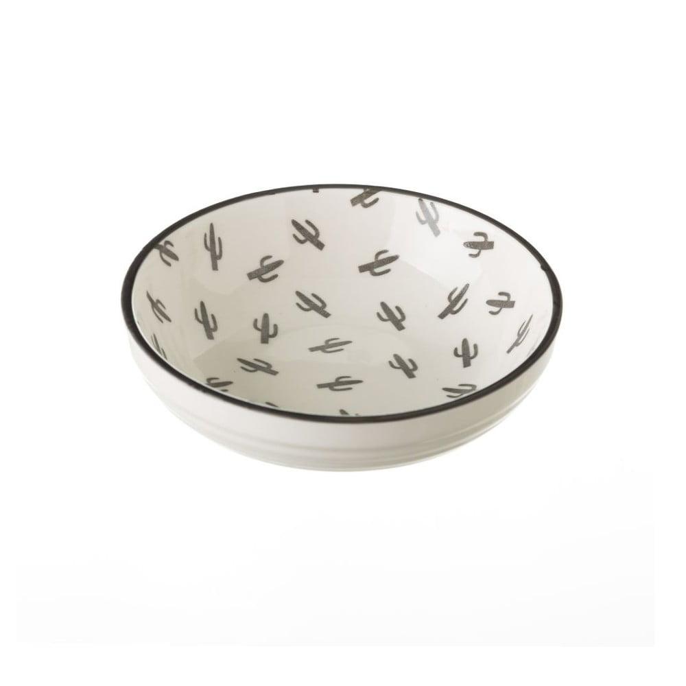 Sivo-biela porcelánová miska Unimasa Mini Cactus, priemer 12,6 cm