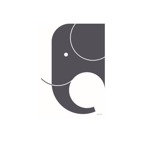 Plagát SNUG.Elephant, 50x70 cm, tmavosivý