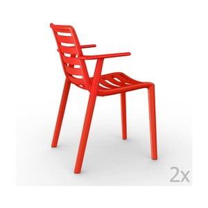 Sada 2 červených záhradných stoličiek sopierkami Resol Slatkat