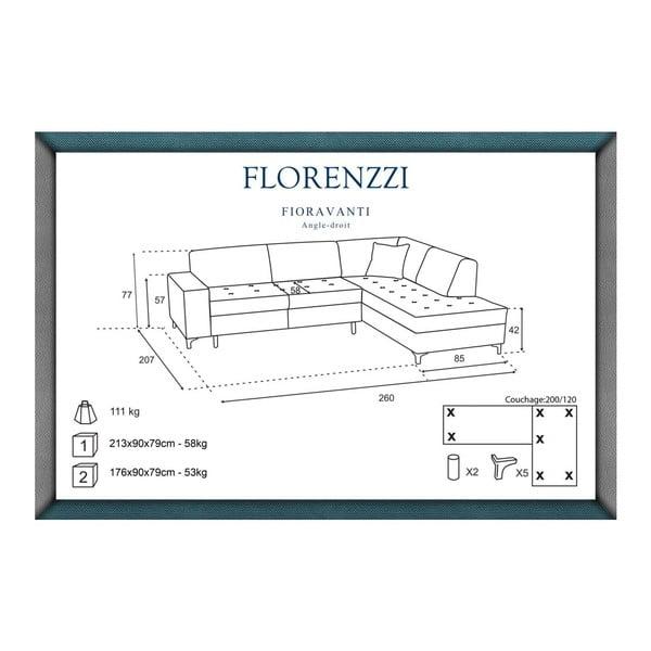 Svetlosivá pohovka Florenzzi Fioravanti s leňoškou na pravej strane