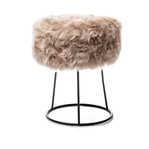 Stolička s béžovým sedadlom z ovčej kožušiny Royal Dream, ⌀ 36 cm