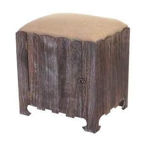 Hnedá stolička s úložným priestorom Mendler Shabby Bray
