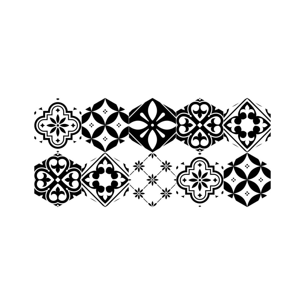 Sada 10 samolepiek na podlahu Ambiance Floor Stickers Hexagons Manoela, 40 × 90 cm
