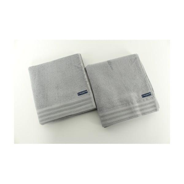 Sada 2 osušiek US Polo Los Angeles Grey, 50x100 cm