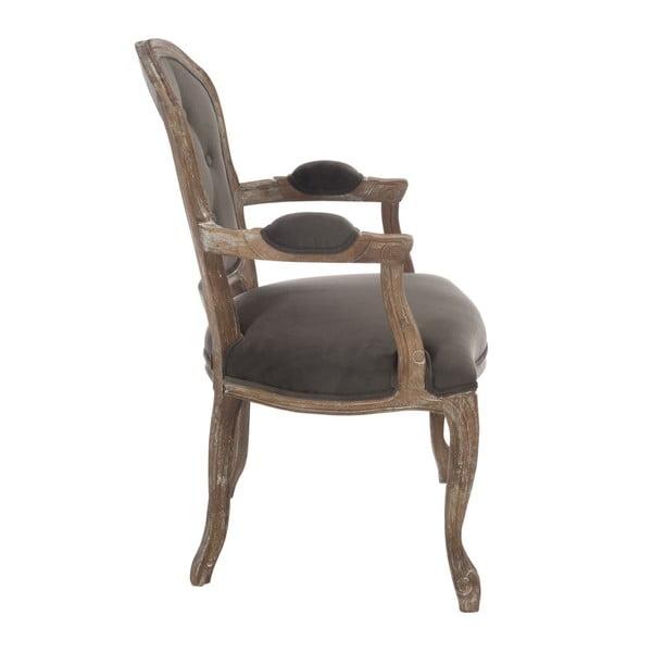 Sivohnedá dubová stolička s rúčkami Louisa