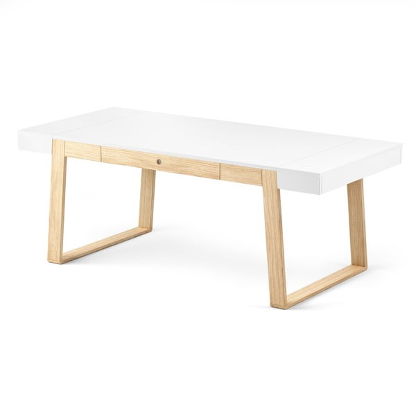 Stôl z dubového dreva s bielou doskou a bielymi detailmi Absynth Magh, 198x100cm