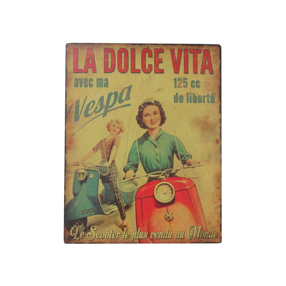 Kovová ceduľa Antic Line La Dolce Vita, 28 × 22 cm
