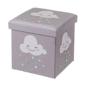 Sivý detský puf s úložným priestorom Unimasa Cloud