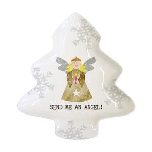 Porcelánová dekoratívna tácka s vianočným motívom PPD Send Me An Angel, 12,5 × 15 cm