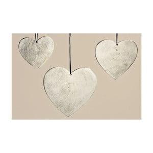 Sada 3 závesných dekorácií Hanger Heart