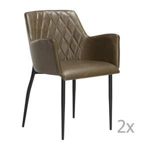 Sada 2 hnedozelených jedálenských stoličiek s opierkami DAN– FORM Rombo Faux
