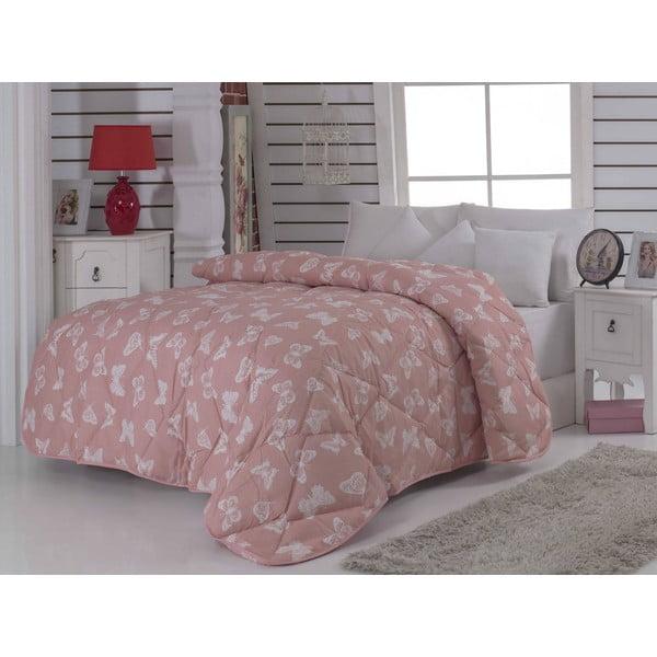 Prešívaná prikrývka na dvojlôžko Kelebek Pink, 195x215 cm