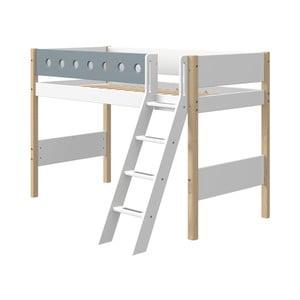 Modro-biela detská posteľ s rebríkom a nohami z brezového dreva Flexa White, výška 143 cm