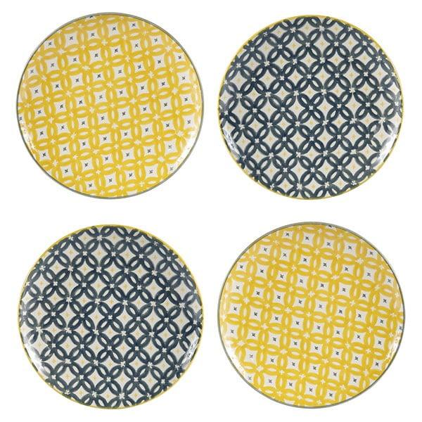 Sada 4 porcelánových tanierov Flower, 20,5 cm