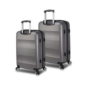Sada 2 sivých cestovných kufrov na kolieskach s USB porty My Valice LASSO Cabin & Medium