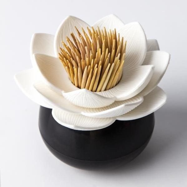 Stoján na špáradlá QUALY Lotus Toothpick, čierny-biely