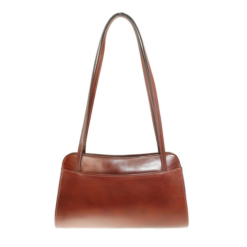 Hnedá kožená kabelka Chicca Borse Kamila