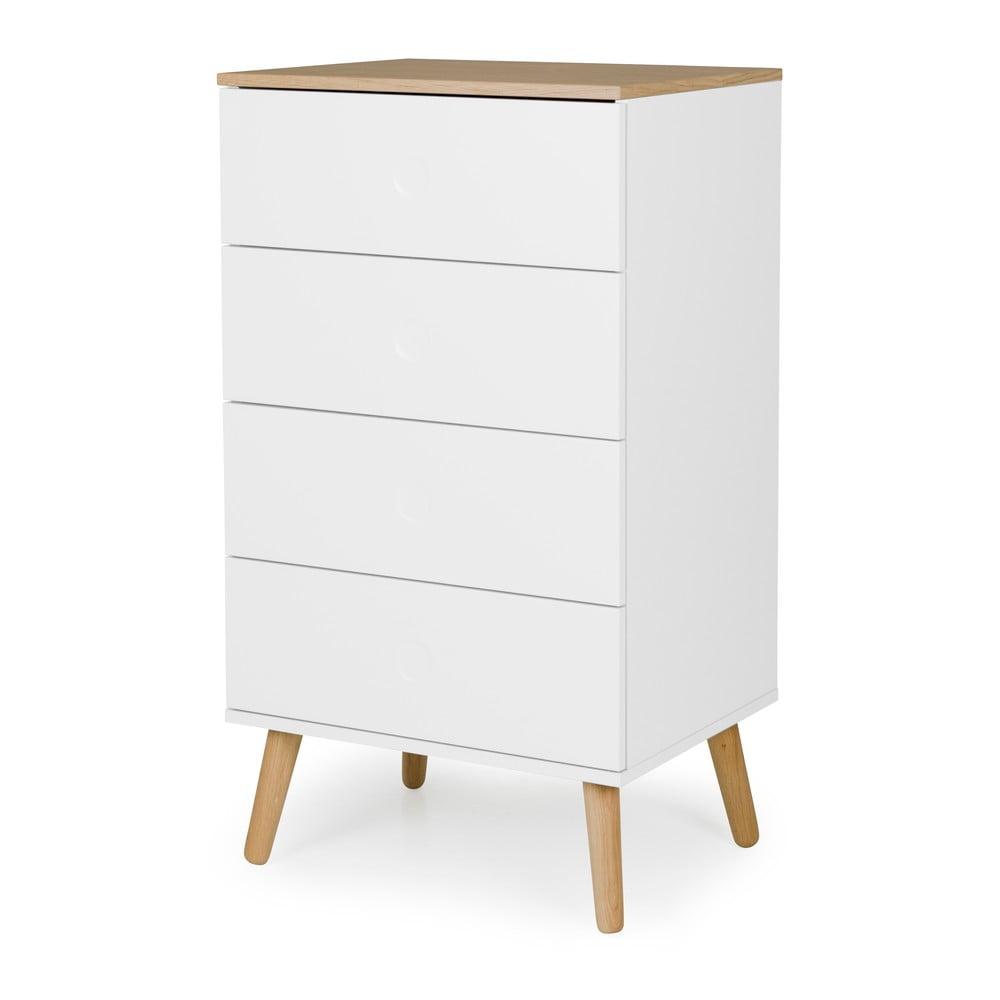 Biela skrinka s detailmi v dekore dubového dreva s 4 zásuvkami Tenzo Dot, šírka 55 cm