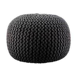 Pletený puf Lob, čierny