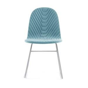 Svetlomodrá stolička s kovovými nohami IKER Mannequin V Wave