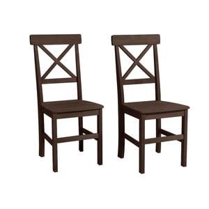 Sada 2 tmavohnedých jedálenských stoličiek z borovicového dreva Støraa Nicoline