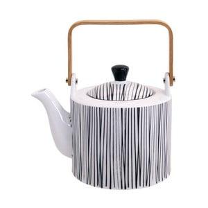 Černo-biela kanvička na čaj Tokyo Design Studio Nippon Lines, 1,3 l