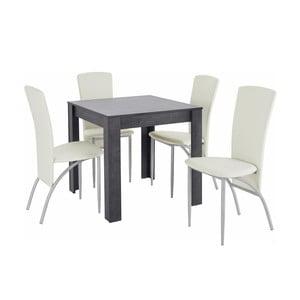 Set jedálenského stola a 4 bielych jedálenských stoličiek Støraa Lori Nevada Duro Slate White