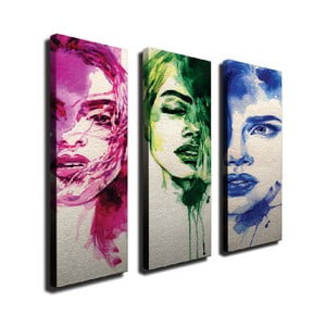 3-dielny nástenný obraz na plátne Faces