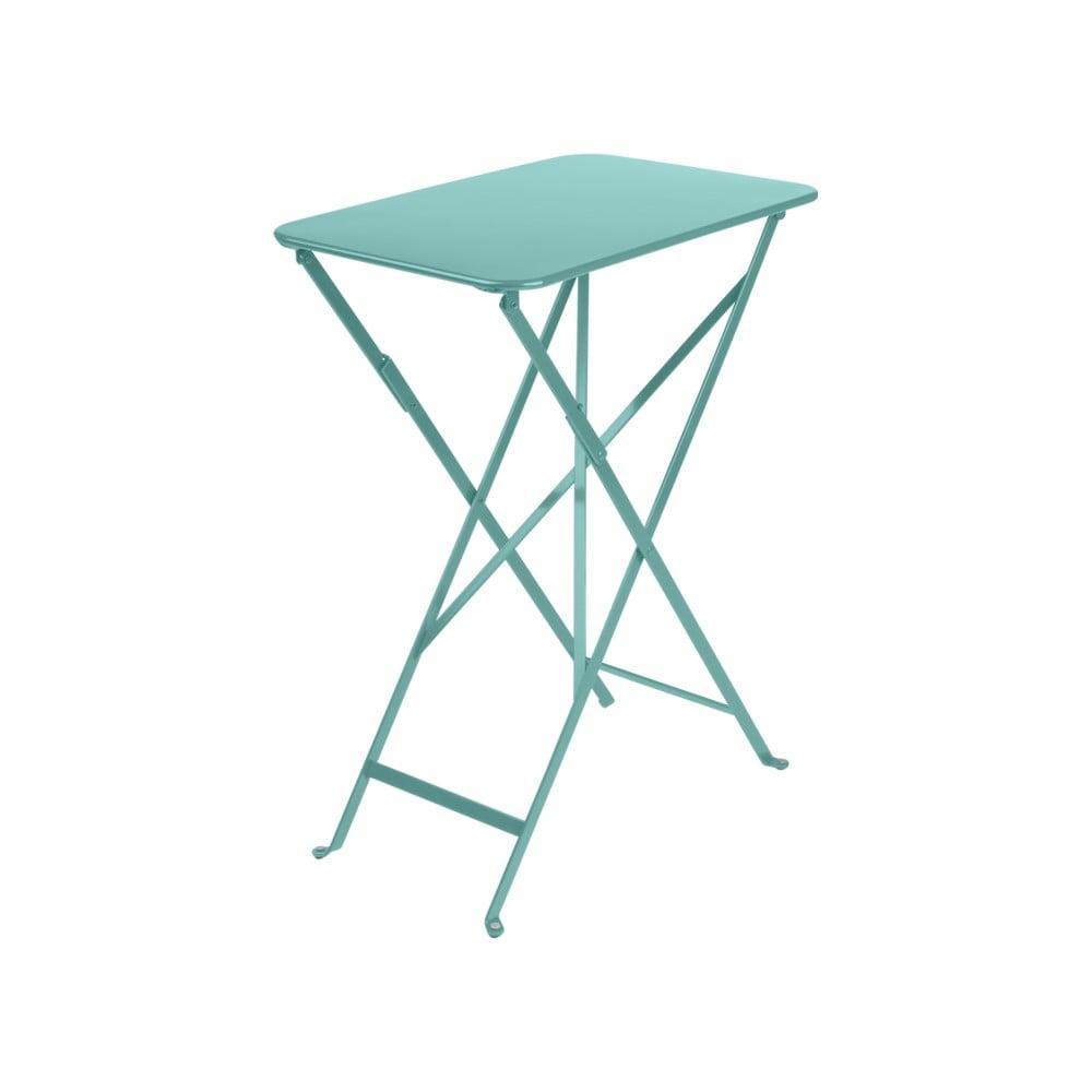 Modrý záhradný skladací stolík Fermob Bistro, 37 × 57 cm