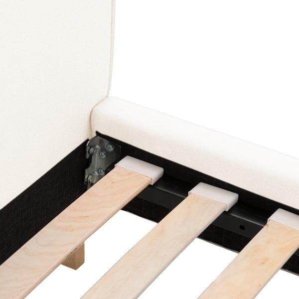 Krémová posteľ VIVONITA Kent 160x200cm, prírodné nohy