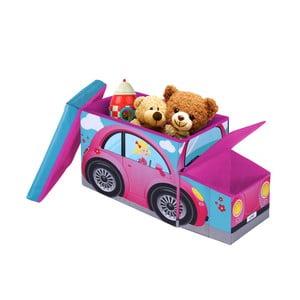 Detská taburetka s úložným priestorom Jocca Pink Car