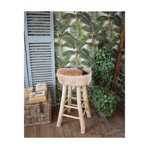 Barová stolička z teakového dreva a kozej kože Orchidea Milano Aspen, výška 73 cm