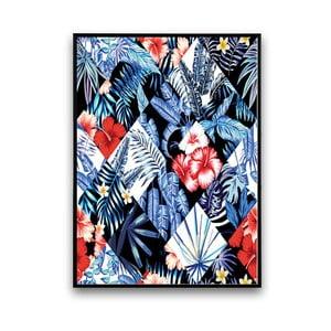 Plagát s kvetmi, čierno-biele pozadie, 30 x 40 cm