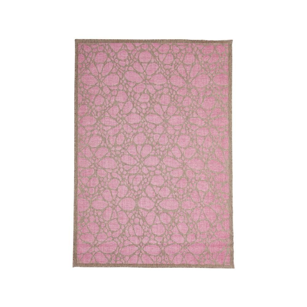 Ružový vonkajší koberec Floorita Fiore, 135 × 190 cm