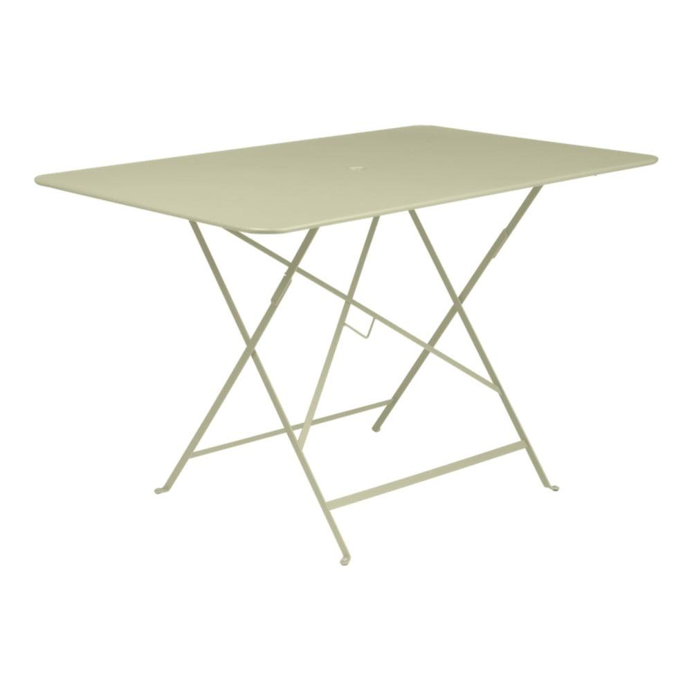 Svetlozelený skladací záhradný stolík Fermob Bistro, 117 × 77 cm