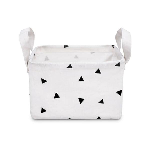 Biely úložný košík KICOTI Triangles, 20 × 16 cm