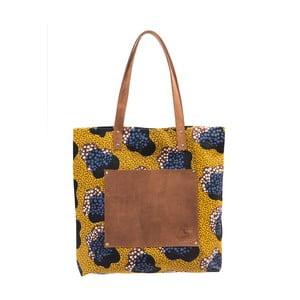 Horčicovožltá kožená vintage maxi taška O My Bag Lou's Print