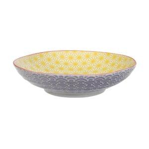 Fialovo-žltý porcelánový tanier na cestoviny Tokyo Design Studio Star / Wave