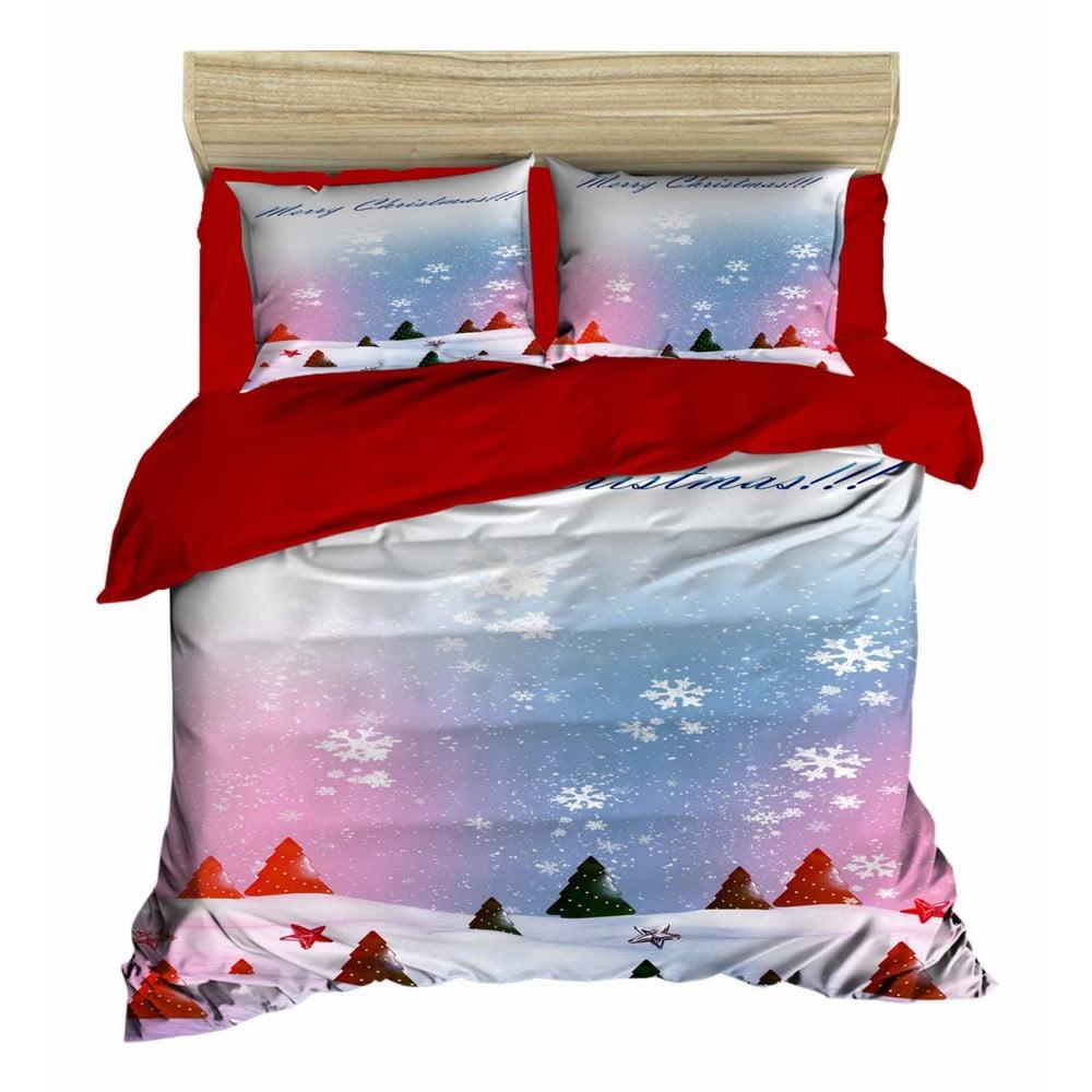 Vianočné obliečky na dvojlôžko s plachtou Nevada, 160×220 cm