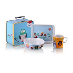 Detský raňajkový set v kufríku Silly Design Owls