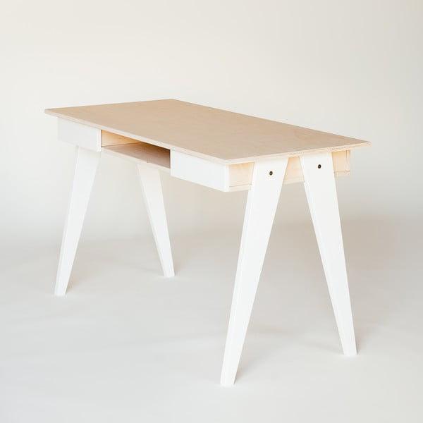 Pracovný stôl s bielymi nohami Radis huh Walnut