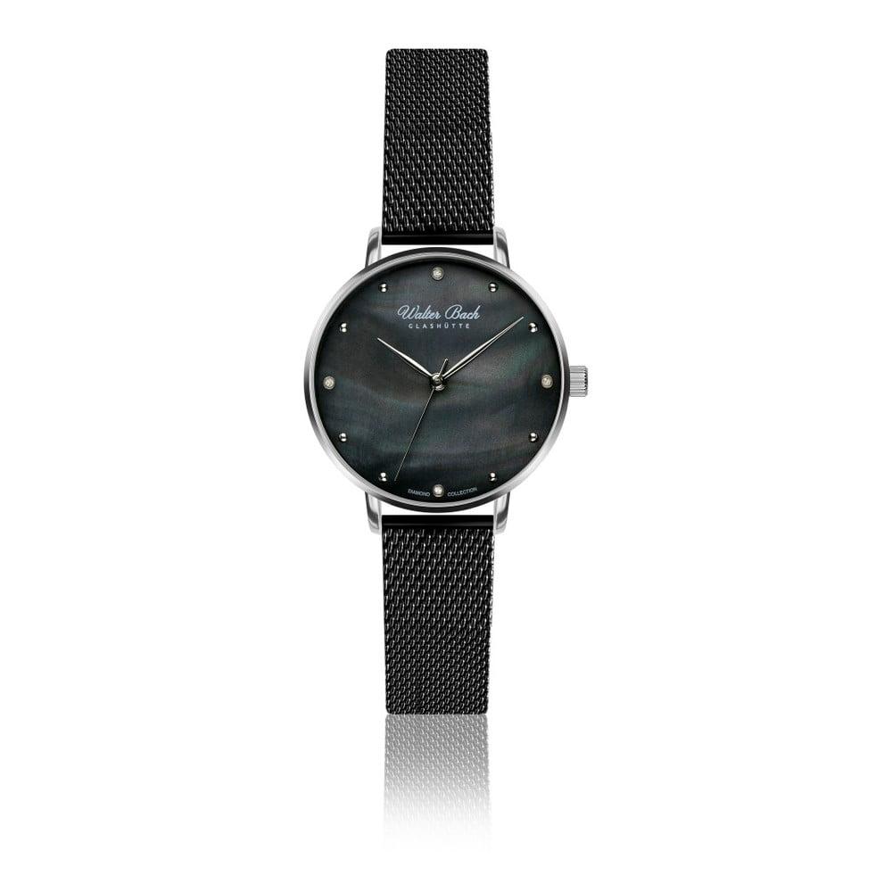 Dámske hodinky s čiernym remienkom z pravej kože a 4 diamantmi Walter Bach Perfect