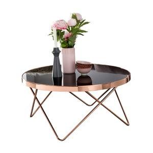 Čierny konferenčný stolík s konštrukciou v medenej farbe Skyport MICHELLE, ⌀82 cm