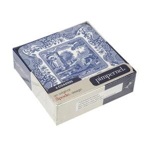 Sada 6 bielo-modrých korkových podpodnosov Spode Blue Italian