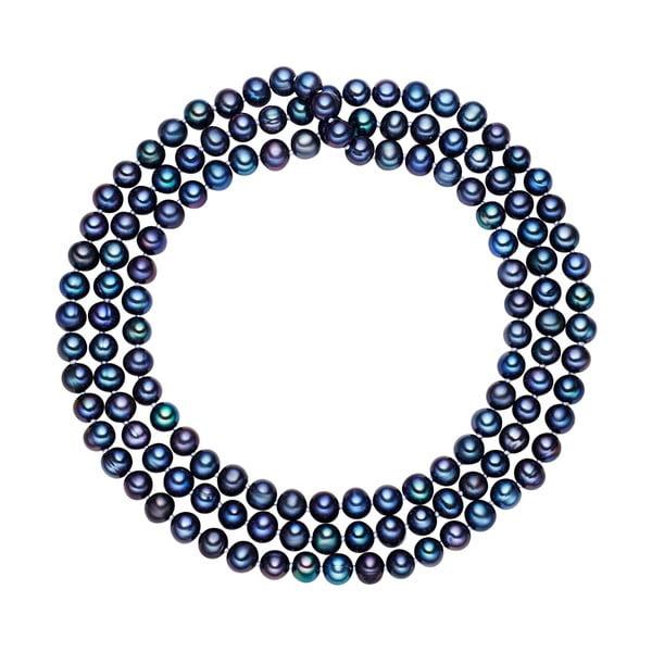 Modrý perlový náhrdelník Chakra Pearls, 120 cm