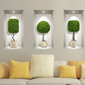 Sada 3 3D samolepiek na stenu Ambiance Plants Ball