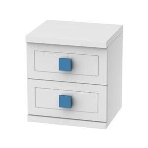 Biely nočný stolík s 2 zásuvkami Trébol Mobiliario Aura