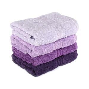Sada 4 fialových uterákov Rainbow Violet, 50 x 90 cm