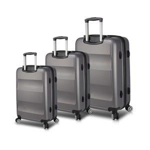 Sada 3 sivých cestovných kufrov na kolieskach s USB porty My Valice LASSO Travel Set