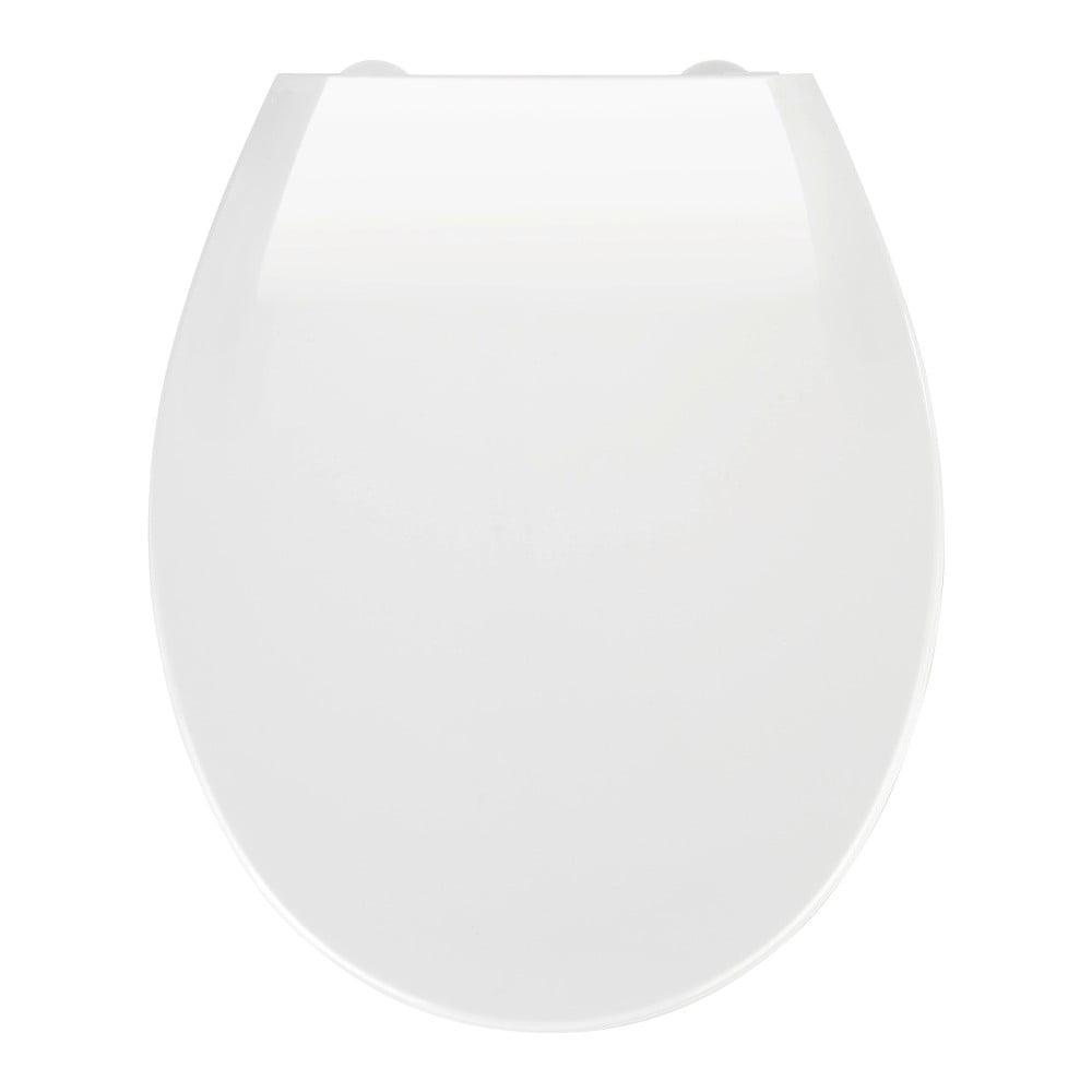 Biele WC sedadlo s jednoduchým zatváraním Wenko Kos, 44 x 37,5 cm